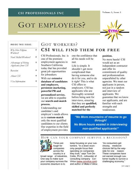 Newsletter for Employer page 1