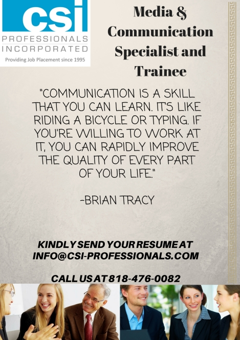 Media & Communications Specialists and Trainee