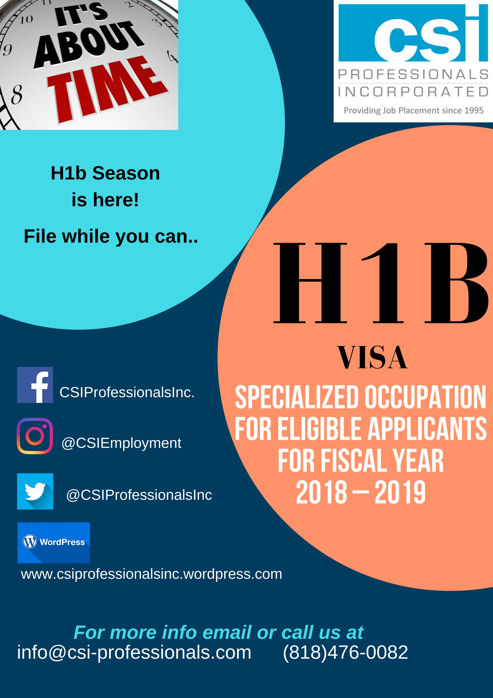 OFFICIALLY ON H1B SEASON AND COUNTDOWN BEFORE APRIL 1ST  | Csi