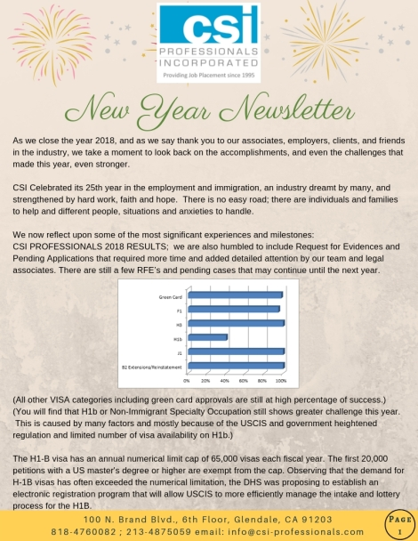 Year-End Employment & Immigration News | Csi Professionals