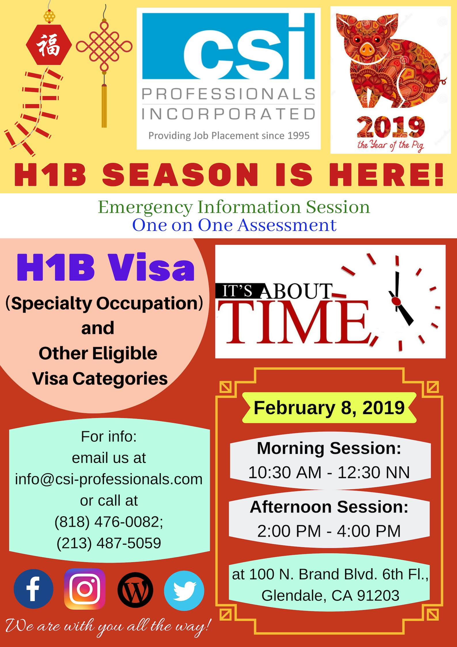 HIRING SEASON FOR H1B & oTHER QUALIFIED OCCUPATION STARTS NOW! | Csi